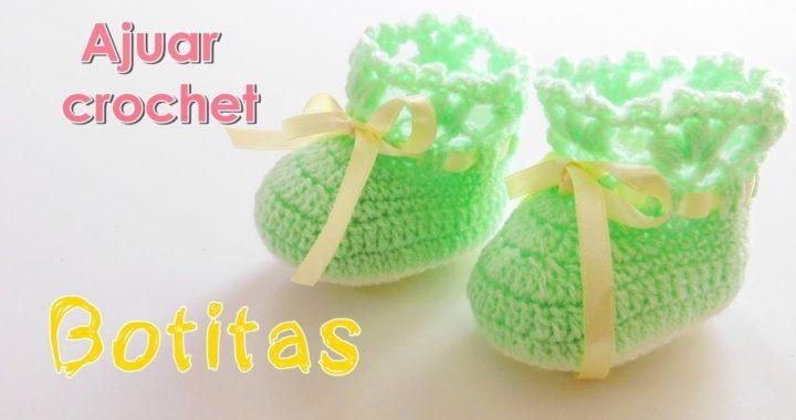 57eefca68 Como tejer un ajuar: Zapatitos o escarpines para bebe a crochet -ganchillo