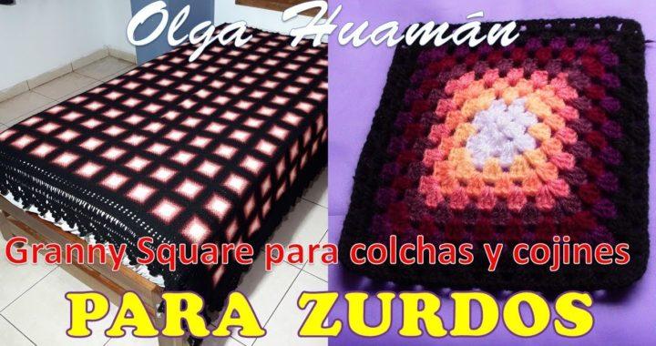 Granny Square Tejido A Crochet Para Colchas Cubrecamas Y Cojines
