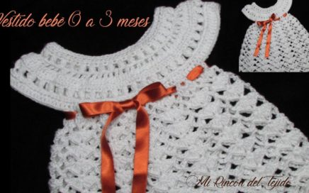 508dd58f7 DELICADO VESTIDO para bebé a CROCHET paso a paso – DELICATE baby DRESS to  CROCHET step by step