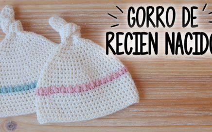 Gorro para BEBE RECIEN NACIDO a crochet  fcfa4e4db99