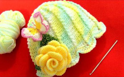f77d00565 Aprende como tejer a Crochet gorro flor con aplicaciones de mariposas 3D y  rosas en una tira