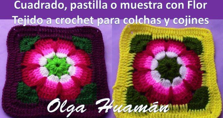 Cuadrado Flor A Crochet Para Colchas Y Cubrecamas Tejidos Olga