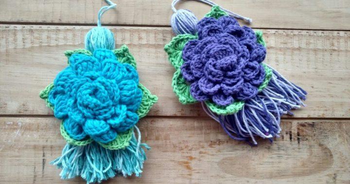 Flores Crochet Sujeta Cortina Llavero Puertero Flor Tejido A