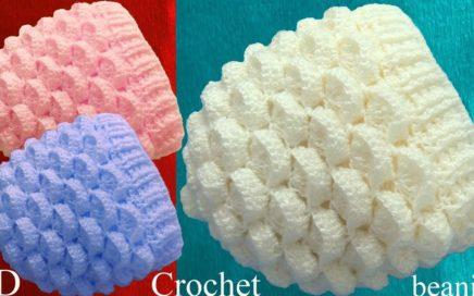 Gorro a Crochet punto marshmallow malvaviscos 3D tejido tallermanualperu 1ea3ba59dc3