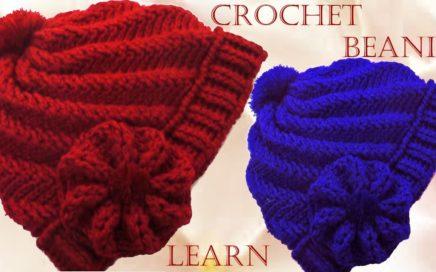 Como tejer gorro Boina a Crochet o Ganchillo en punto remolino en relieve 673d0cb6913