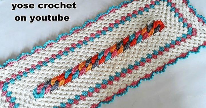 7565e1941 كروشية مفرش مستطيل سهل – Table Runner & Doily Crochet Tutorial# يوسى كروشية