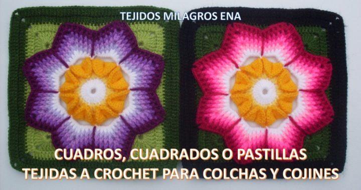 Cuadrado Para Colchas A Crochet O Ganchillo Paso A Paso Con Flor En