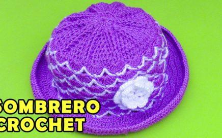 723254860e817 Sombrero con flor para bebé de 5 meses tejido a crochet paso a paso en  puntos abanicos
